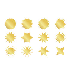 Starburst sticker set golden sunburst badges in vector