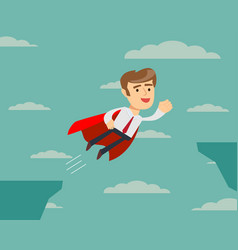 Super businessman flying across the cliff vector