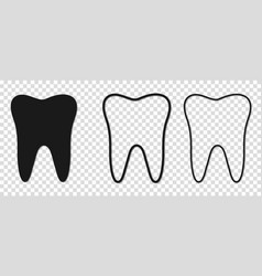 teeth black icons line art style vector image