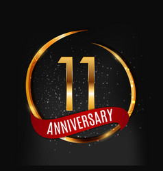 Template gold logo 11 years anniversary with red vector