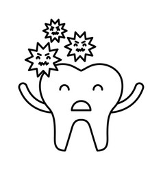 tooth with caries character icon vector image