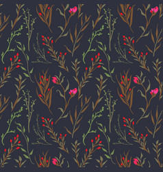 vintage and trendy seamless pattern flowers and vector image