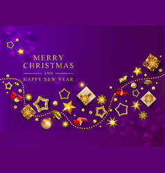 violet christmas banner xmas background vector image