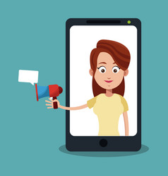 woman with bullhorn on smartphone vector image