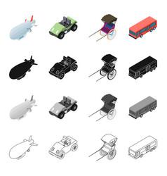 air transport airship golf cart rickshaw bus vector image vector image