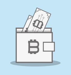 color wallet icon and bitcoin money currency vector image vector image