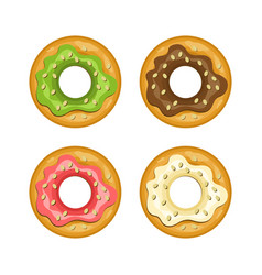 colorful donut colored icon set vector image vector image