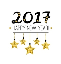 Happy New Year 2017 card with gold stars isolated vector image vector image