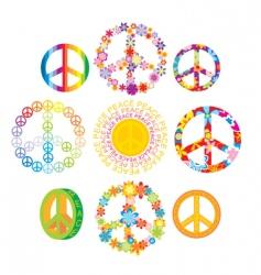 set of peace symbols vector image vector image