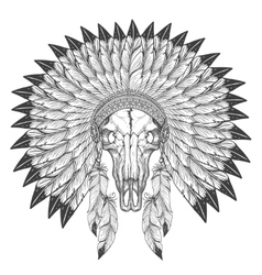 Buffalo skull sketch with feather headdress vector image vector image
