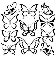 Butterflies black contours vector image vector image
