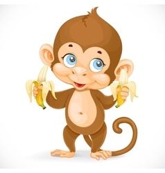 Cute baby monkey with two bananas stand on a white vector image