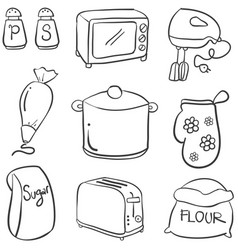Doodle of kitchen set hand draw collection vector