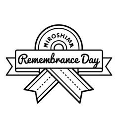 hiroshima remembrance day greeting emblem vector image