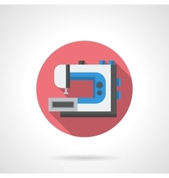 Industrial sewing machine round flat icon vector image