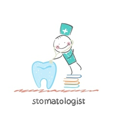 stomatologist standing on a pile of books and a vector image vector image