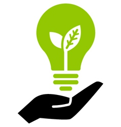 Green ecology bulb on hand vector image vector image