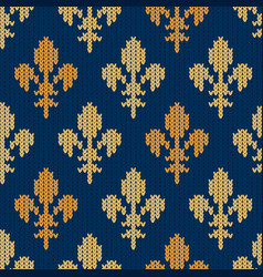 knitted woolen pattern with golden royal lilies vector image