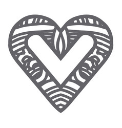 monochrome silhouette abstract heart shape with vector image vector image