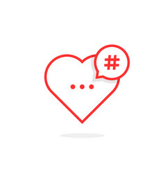 red heart like hashtag logo vector image vector image