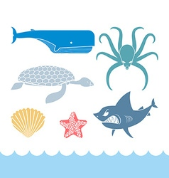 Underwater World Set flat icons Animals Ocean vector image vector image