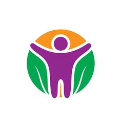 circle leaf eco human logo vector image vector image