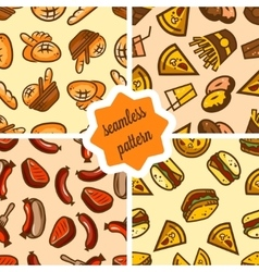 fast food patterns set vector image vector image