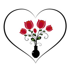 flourishes with heart and flowers vector image