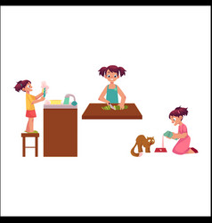 girl washing dishes cooking feeding her cat vector image