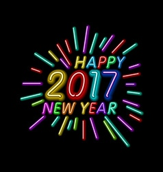 Happy New Year - 2017 colorful neon light vector image