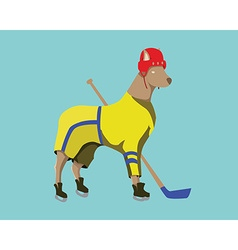 Hockey Dog Mascot in Yellow Sportswear vector image vector image