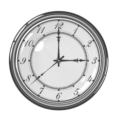 Vintage clock or watch in engraved style vector image vector image