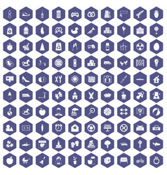 100 maternity leave icons hexagon purple vector