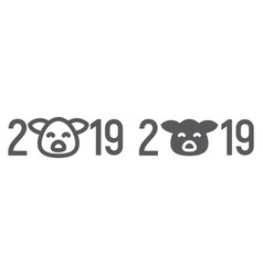 2019 pig year line and glyph icon celebration vector image
