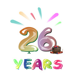 26th years greeting card anniversary vector image