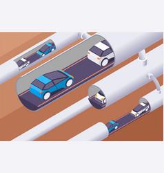 3d isometric modern underground tunnels vector