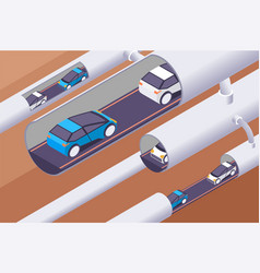 3d isometric modern underground tunnels with vector