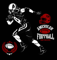 American football player and emblems isolated vector