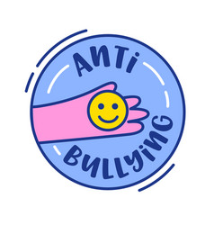 anti bullying banner or icon human hand holding vector image