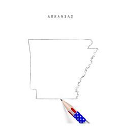 Arkansas us state map pencil sketch vector
