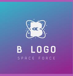 B initial space force logo design galaxy rocket vector