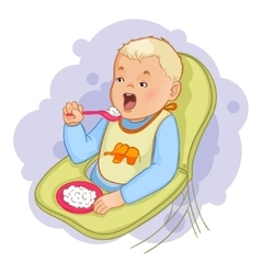 Baby boy eats pap sitting in the baby chair vector