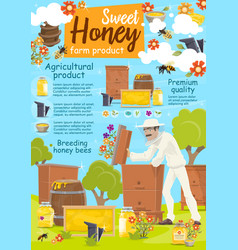 Beekeeper at apairy poster with beekeeping farm vector