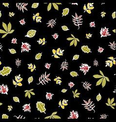 Black leaves autumn doodle background vector