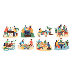 board games family set stay home parents vector image