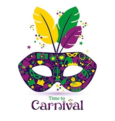 Bright carnival icons mask and sign Time to vector