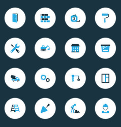Building colorful icons set collection of paint vector