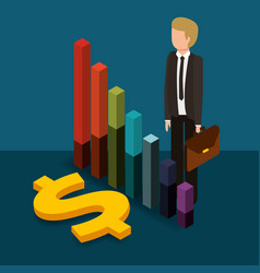 businessman holding briefcase chart finance and vector image