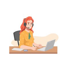 call center worker in headphones hotline operator vector image