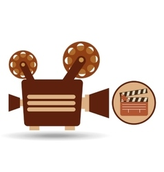Camera movie vintage clapper icon design vector